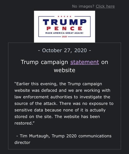 上个月,英国路透社爆料称,为特朗普竞选团队服务的网络安全公司cloudflare认为,黑客在大选前加大了对特朗普竞选和商业网站的攻击以使其瘫痪,并准备发动更大规模的网络攻击.