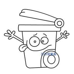 卡通垃圾桶简笔画 2