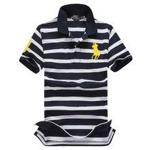 欧美夏季新款polo 保罗 加大码男装 翻领条纹短袖T恤休闲上衣