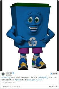 为迎接世界地球日 NSA发布吉祥物 垃圾回收桶Dunk