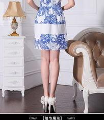 2013新款夏装欧美大码典雅气质插色印花OL网纱青花瓷无袖连衣裙