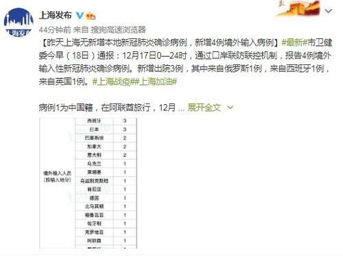 上海新增4例境外输入性新冠肺炎确诊病例治愈出院3例