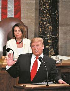 2月5日,美国总统特朗普在国会发表国情咨文演讲.