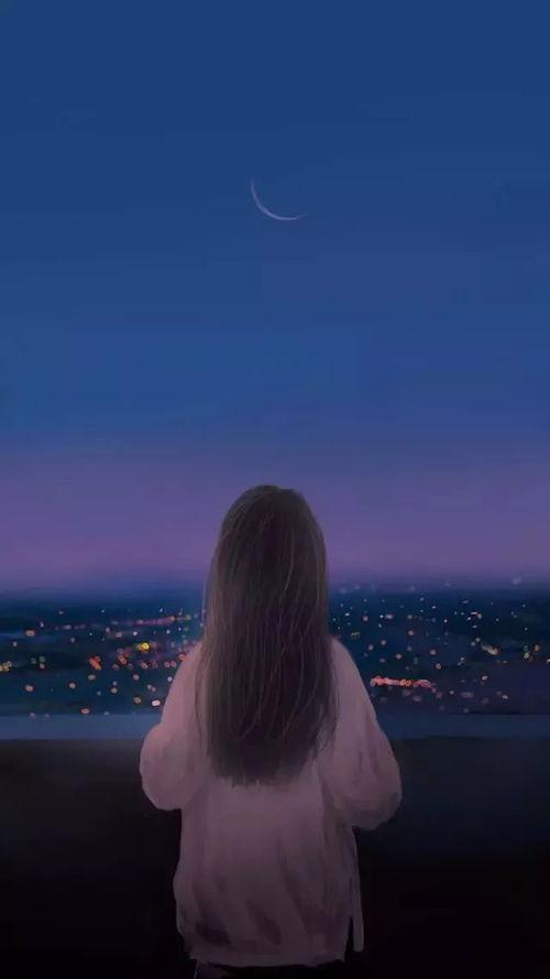 情侣壁纸夜背影