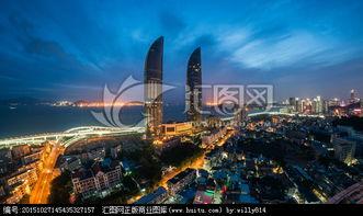 厦门地标双子塔与演武大桥夜景