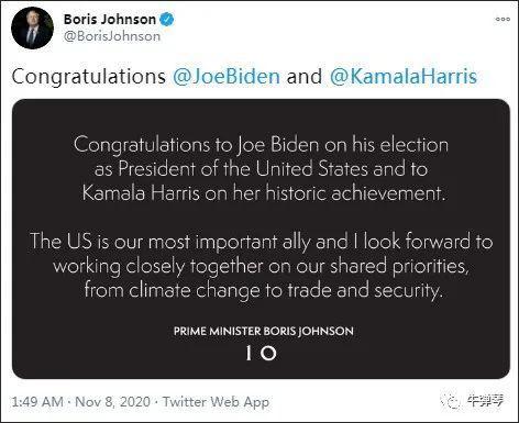 信不长,发在约翰逊推特上,就两句话:祝贺拜登当选美利坚合众国总统,祝贺哈里斯取得历史性成就.
