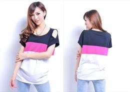 新品2014新款夏季韩版女装拼接女子短袖t恤女宽松T恤女版夏包邮