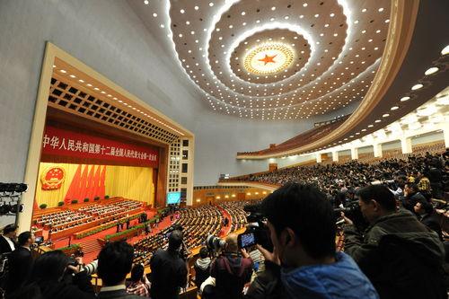 3月17日,十二届全国人大一次会议闭幕会全景.