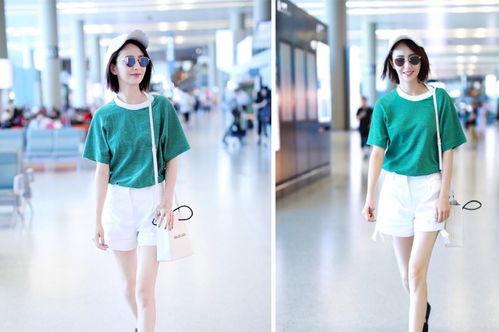 继谢娜之后,佟丽娅身穿条纹衬衫裙现机场,少女感也太强了吧