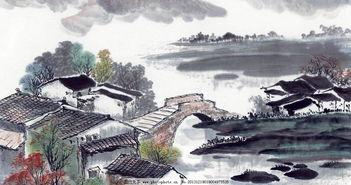 水墨建筑-桥的国画
