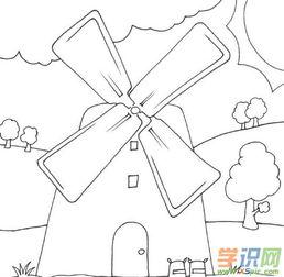 大风车怎么画简笔画,组合房子小山