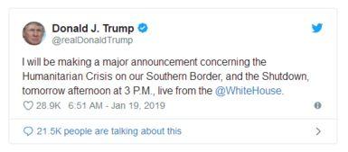 坐不住了美政府关门28天,特朗普要发重大声明