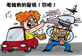 评违章女司机砸钱抗罚权力运行的失范