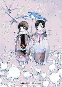 谁有下雨天撑伞的卡通图片