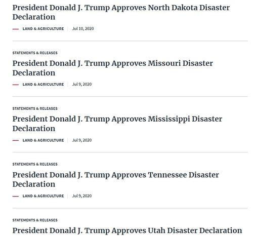 特朗普批准美国多州进入灾难状态