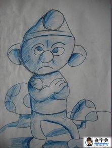 彩色铅笔画图片大全 蓝色小精灵
