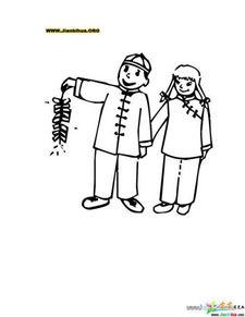 两个小孩放鞭炮的简笔绘画图片