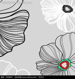 简单线条画出的灰色白色花朵图片免费下载 编号1908855 红动网