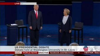 视频截图:特朗普希拉里辩论开场没握手