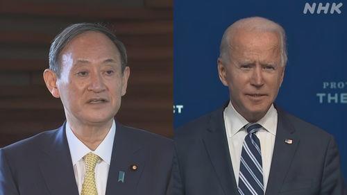 在通话后,菅义伟祝贺拜登与哈里斯成功当选.