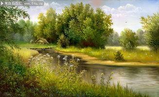 乡村河流油画下载