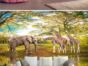 极美动物世界大象长颈鹿3d风景画图片设计素材高清.