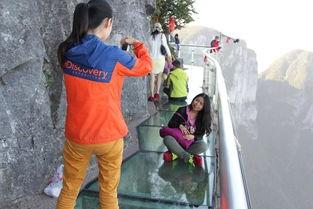 10月3日天门山客流持续火爆游客争做玻璃栈道扶墙族