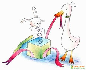 儿童画彩色铅笔画 调皮的小鸭子