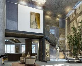 现代时尚别墅客厅装修效果图