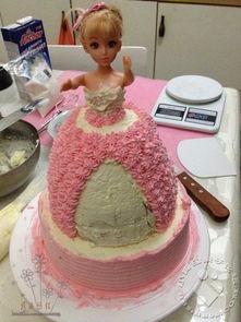 粉色芭比公主生日蛋糕