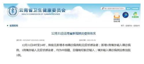 12月31日0时至24时,云南无新增本地确诊病例和无症状感染者;新增1例境外输入确诊病例、1例境外输入无症状感染者,均为中国籍、自缅甸经航空输入;境外输入确诊病例治愈出院1例。