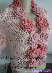 钩针编织的漂亮的短袖开衫花样图