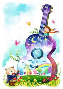 小熊弹吉他卡通