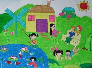 夏天的图片儿童画