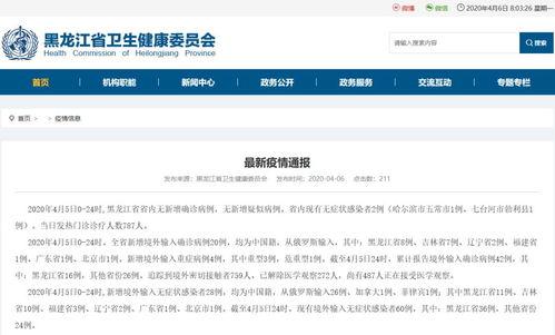 黑龙江新增20例境外输入确诊病例,活动轨迹公布↘