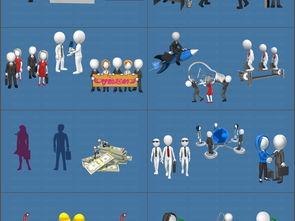 3D小人三维卡通动画GIF图片素材PPT模版第四季