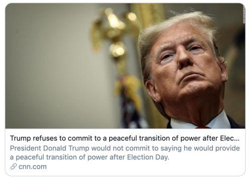 特朗普不愿承诺败选后和平交接权力,咋办