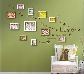 我图网电视墙-绿色的墙面,百色的框架,打造的是一种轻松活泼的style.   两层的房...