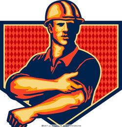 卡通劳动者-工人人物图片