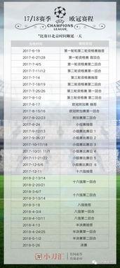 赛事聚焦1718赛季欧冠赛程表