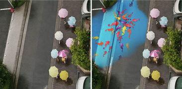 趣新闻 首尔街头现神奇涂鸦 下雨天路面变卡通