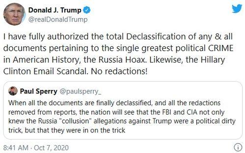 特朗普下令全面解密有关通俄门希拉里邮件门文件