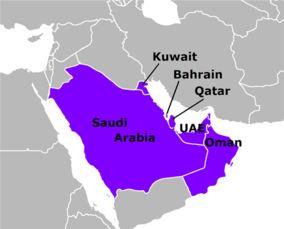 海合会六国所处地理位置,图片来源:百度百科